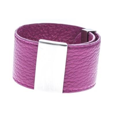 bracelet modulale en cuir rose manchette 3 cm Odena pour femme