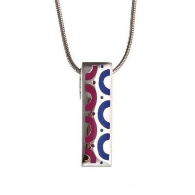 Collier argent et émail bleu et rose pour femme - Mira - Lyn&Or Bijoux