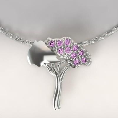 Collier femme en argent & topazes violettes, Pin Parasol
