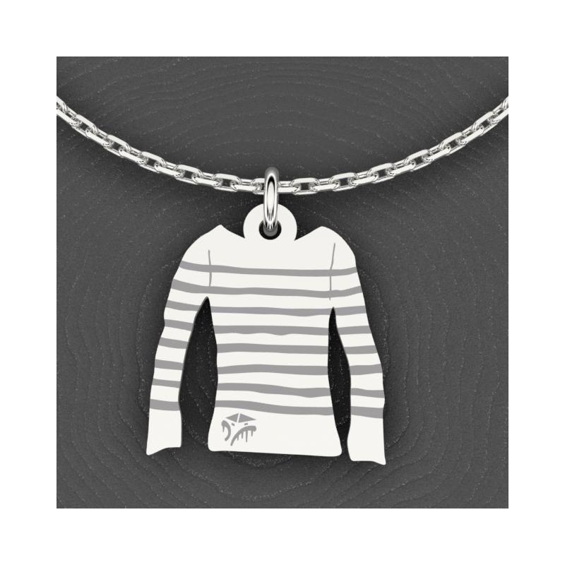 Collier de créateur en argent 925 pour femme - Marinière - Lyn&Or Bijoux