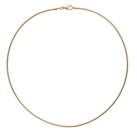 Collier rigide en plaqué or pour femme, 1,6 mm