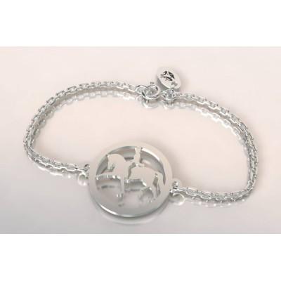 Bracelet créateur original cavalier au dressage en argent
