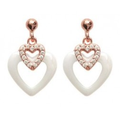 Boucles d'oreilles coeur blanc céramique, or rose - Célia