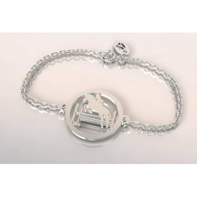 Bracelet créateur cavalier au saut d'obstacle en argent