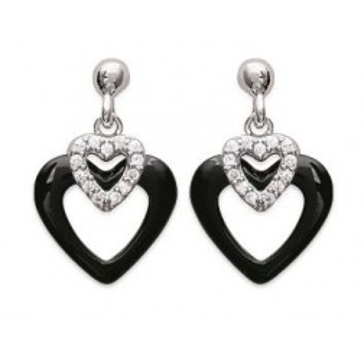 Boucles d'oreilles coeur noir céramique, argent - Célia