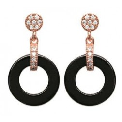 Boucles d'oreilles or rose, céramique noire - Sylvia