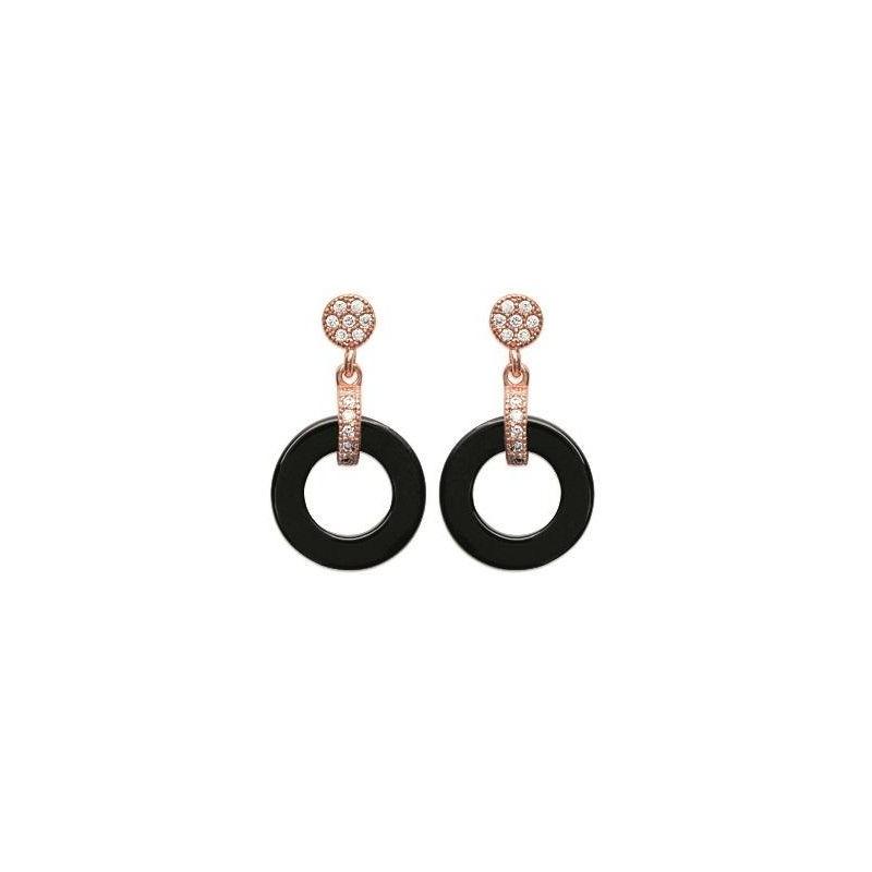 Boucles d'oreilles or rose, céramique noire pour femme, Sylvia