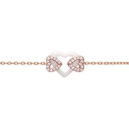 Bracelet coeur pour femme en céramique blanc et or rose, Célia