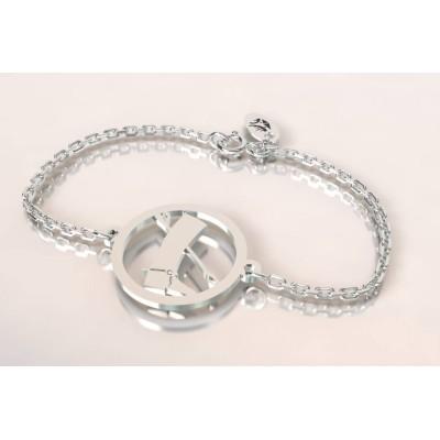 Bracelet créateur botte, cravache en argent, thème cheval