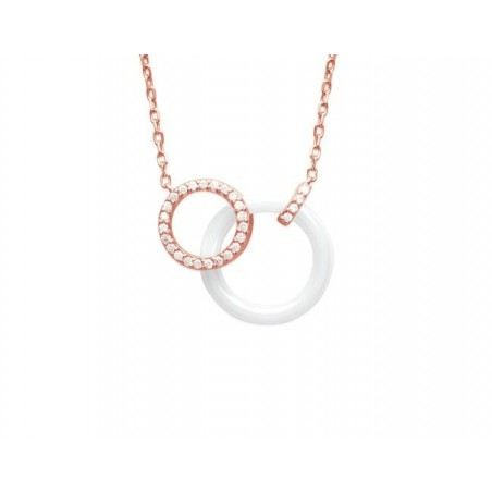 Collier plaqué or rose, zircon, céramique blanche, Fabiola