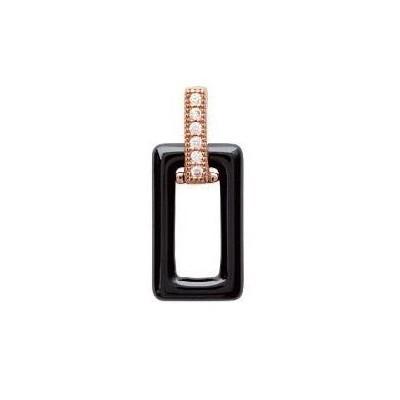 Pendentif céramique noire et zircon pour femme - Tali - Lyn&Or Bijoux