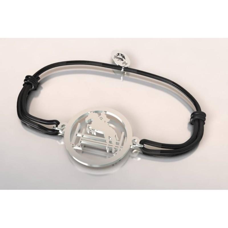 Bracelet argent et cordon noir pour femme - Cheval, Saut d'obstacle - Lyn&Or Bijoux