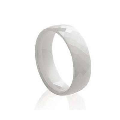 Bague femme, anneau en céramique blanche facettée 6 mm - Abyssa - Lyn&Or Bijoux
