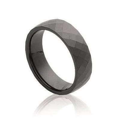 Bague femme, large anneau de céramique noire facettée 6 mm - Abyssa - Lyn&Or Bijoux