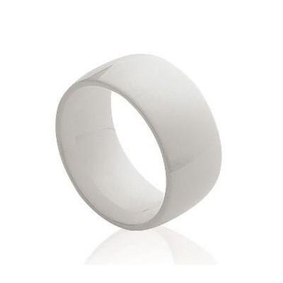 Bague femme, Large anneau de céramique blanche 8,5 mm - Enora - Lyn&Or Bijoux