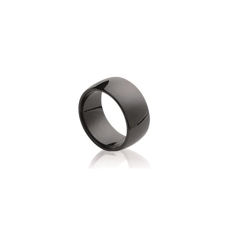 Bague céramique femme, anneau noir lisse de 8,5 mm, Enora - Lyn&Or Bijoux