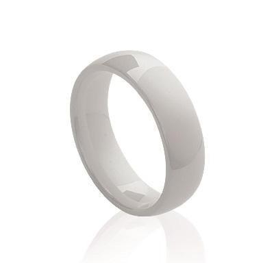 Bague anneau pour femme de céramique blanche 5 mm, Syria
