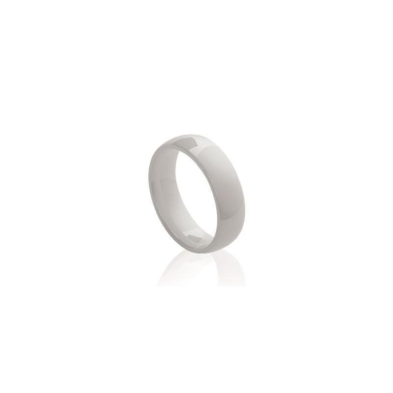 Bague femme, anneau de céramique blanche 5 mm - Syria - Lyn&Or Bijoux