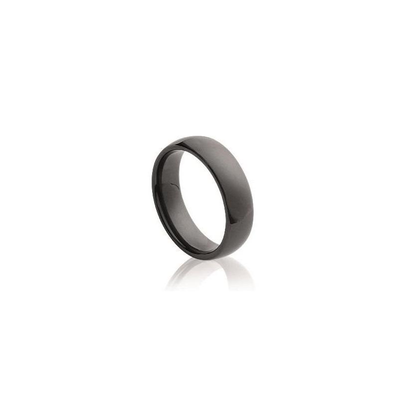 Bague céramique noire pour femme, anneau 5 mm, Syria - Lyn&Or Bijoux
