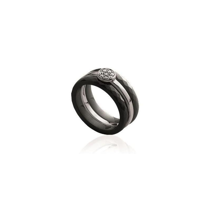 mode designer e49e9 4bd10 Bague céramique noire, argent, zircon 3-en-1 - Thyka