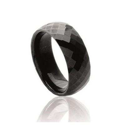 Bague anneau de céramique noire 7,5 mm - Alina