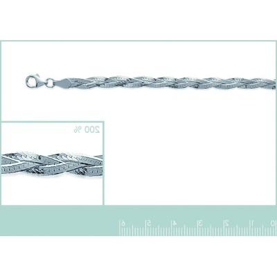 Bracelet en argent 925 millièmes, Serpent plat Tressé