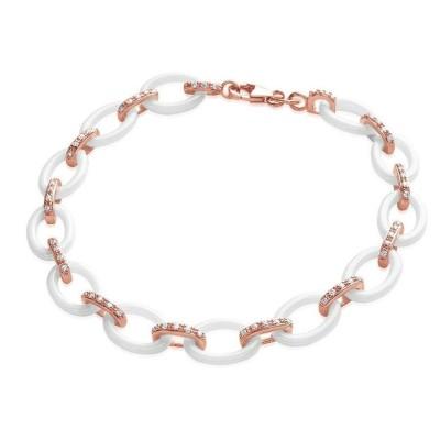 Bracelet plaqué or rose, zircon, céramique blanche, Tiéna