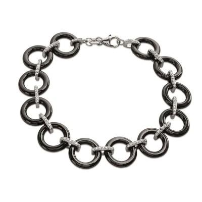 bracelet céramique noire pour femme, argent et zircon