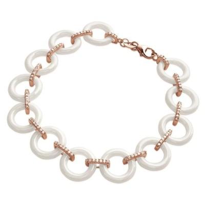 Bracelet femme en céramique blanche & plaqué or rose - Liéna - Lyn&Or Bijoux