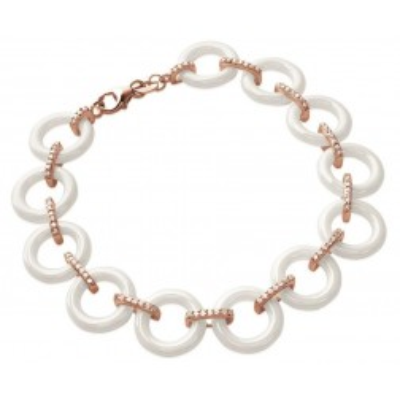 Bracelet plaqué or rose, zircon, céramique blanche, Liéna