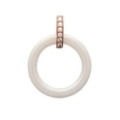 Pendentif plaqué or rose, zircon, céramique pour femme - Siena - Lyn&Or Bijoux