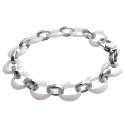 bracelet céramique femme, blanc et acier, symboles oméga