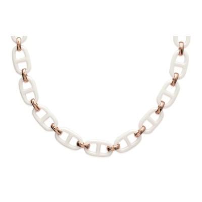 collier céramique blanche et plaqué or rose pour femme, maille marine