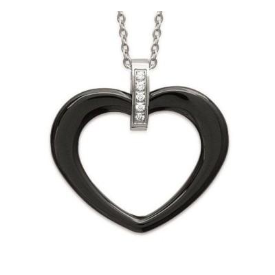 Collier acier, zircon, coeur en céramique pour femme, Zoé