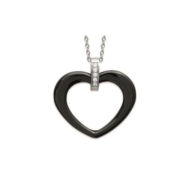 Collier acier, zircon, coeur en céramique - Zoé - Lyn&Or Bijoux