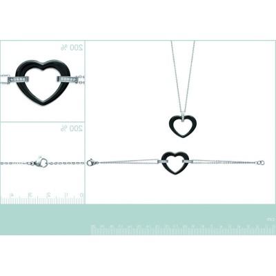 Collier acier, zircon, coeur en céramique blanche, Zoé