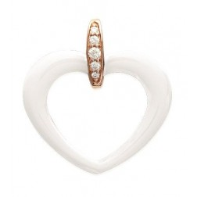 Pendentif femme, coeur en céramique blanche & plaqué or rose - Zya - Lyn&Or Bijoux