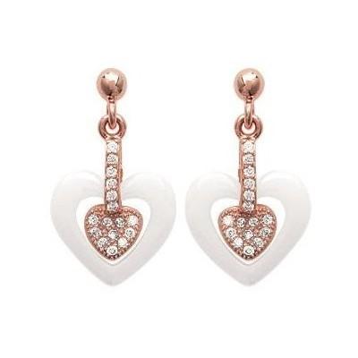 Boucles d'oreilles doré rose, zircon, céramique blanche, Cala