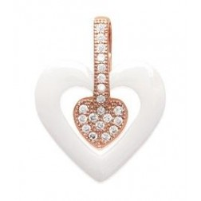 Pendentif coeur or rose, céramique blanche - Cala