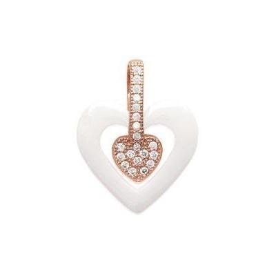 Pendentif coeur or rose, céramique blanche pour femme - Cala - Lyn&Or Bijoux