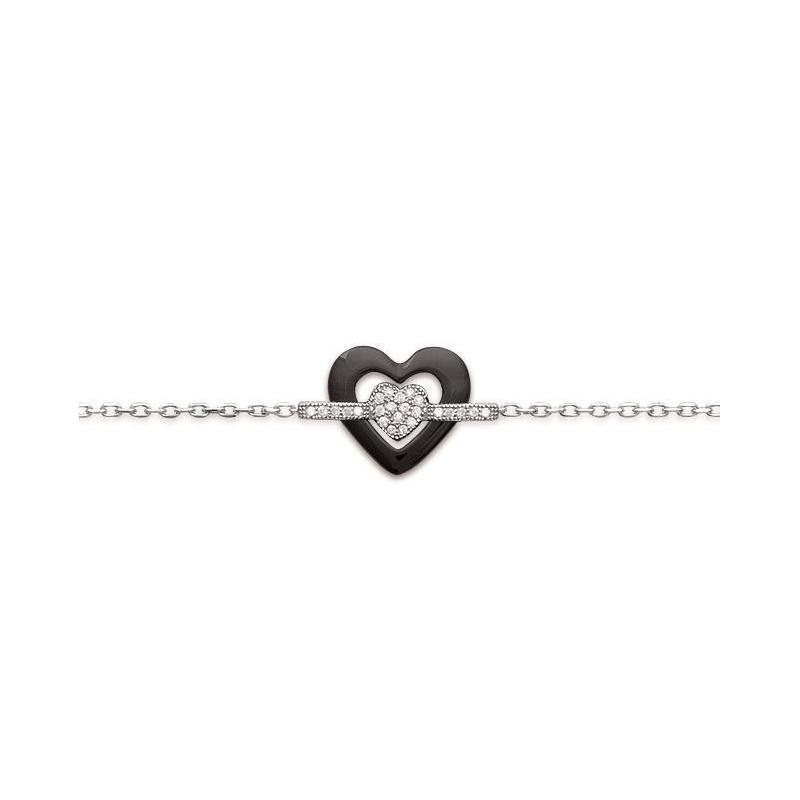 Bracelet coeur en argent, céramique noire pour femme - Scala - Lyn&Or Bijoux