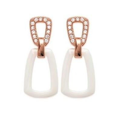 Boucles d'oreilles or rose, céramique pour femme, Equidia