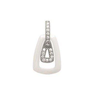 Pendentif argent, zircon, céramique blanche pour femme - Dana - Lyn&Or Bijoux