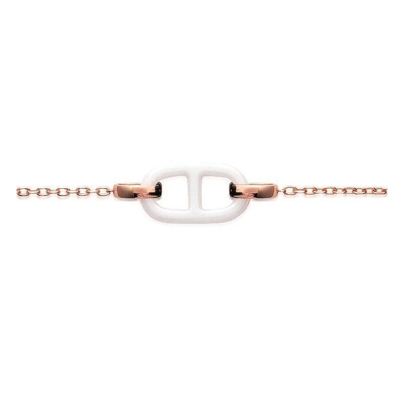 Bracelet céramique blanche en plaqué or rose pour femme, Marine