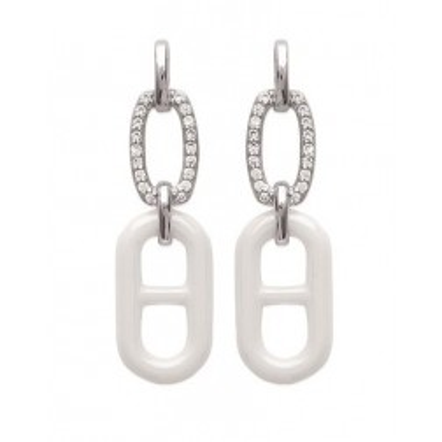 Boucles d'oreilles argent, zircon, céramique pour femme, Marina