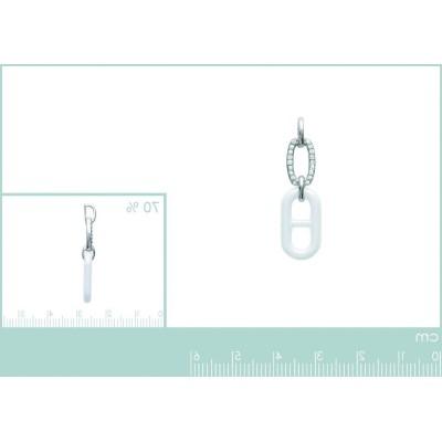 pendentif céramique blanche, zircon et argent pour femme - Bijoux tendance