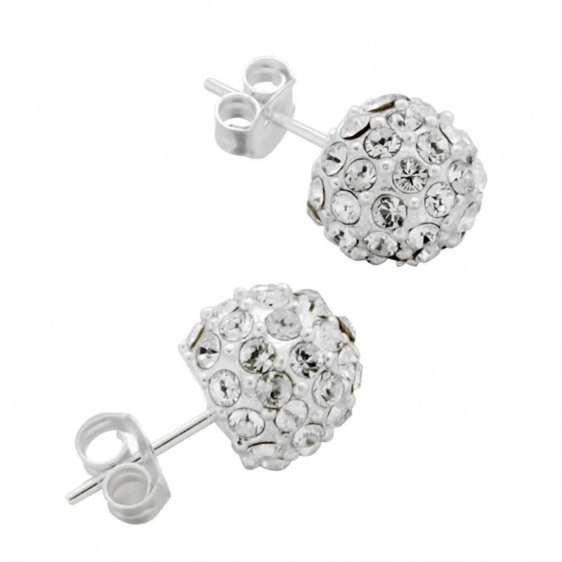 Boucles d'oreilles LZ, Boules argent, Cristal de Swarovski
