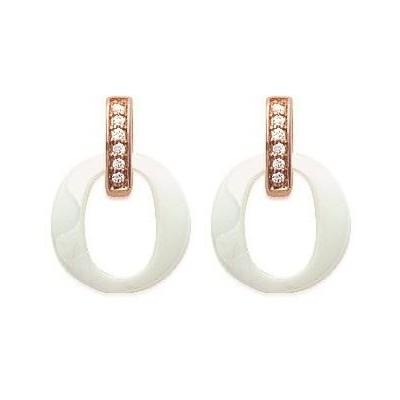 Boucles d'oreilles pour femme céramique blanche Oméga