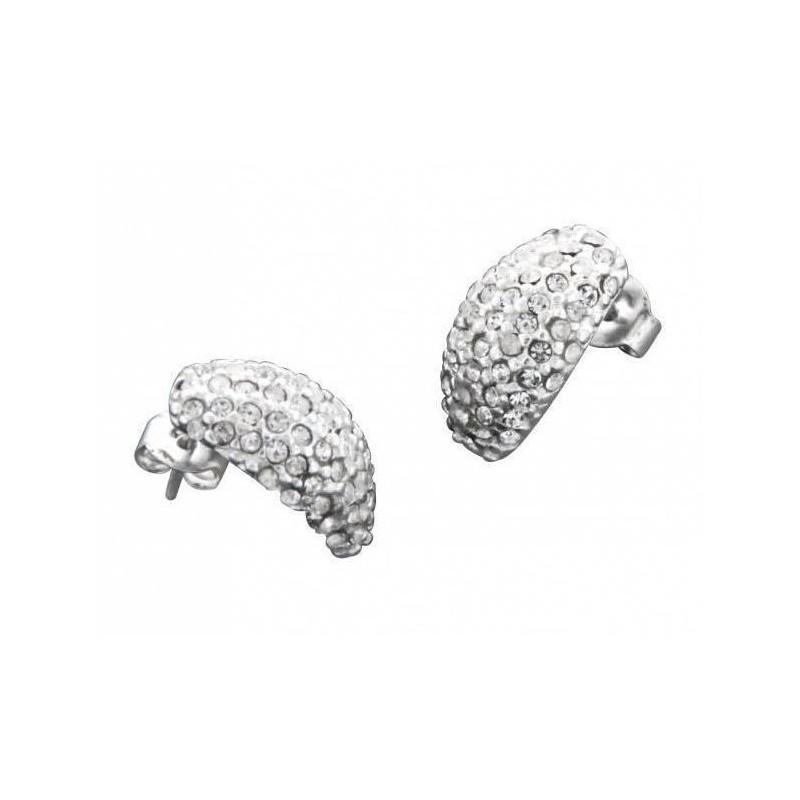 Boucles d'oreille créateur pour femme en argent & Swarovski - Demi-Lune - Lyn&Or Bijoux