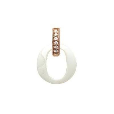 Pendentif céramique, doré rose, zircon pour femme - Oméga - Lyn&Or Bijoux